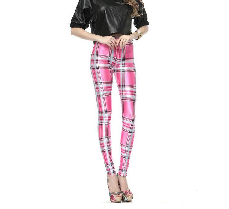 Pink Plaid Knitted Leggings Wholesale China Leggings