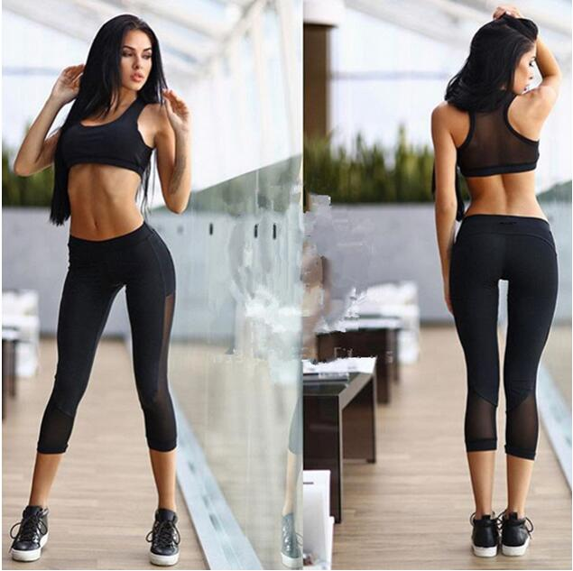 Pure Color Strapless Vest Joining Together Yoga Suit