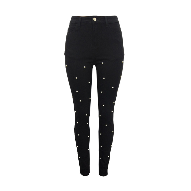 Wholesale black pearl denim trousers cheap leggings
