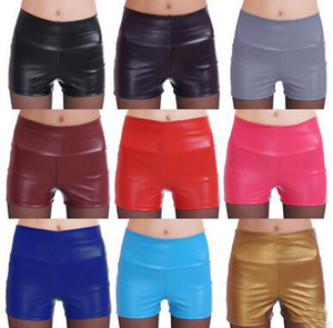 Tall waist PU leather stretch tight shorts pant wholesale