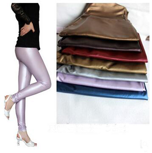 Pearl color PU leather pencil series leather pants wholesale