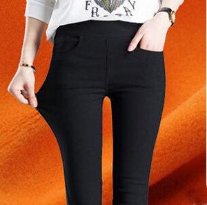 Woman soft gold velvet woven pencil pants black feet pants wholesale