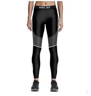 Female white lines printed sports nine minutes pants wholesale