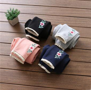 Flower embroidery thickening children cotton trousers