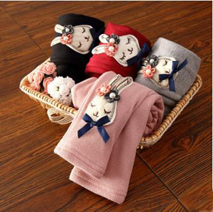 Long ears rabbit cartoon add wool render girls pants wholesale