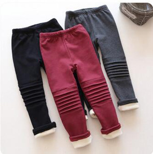 Girls warm cloth bordeaux leisure leggings wholesale