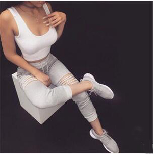 Women's hole pure color sports casual pants wholesale