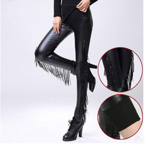 Fringed velvet PU imitation leather leggings wholesale