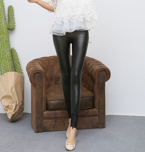 Lace pu leather leggings