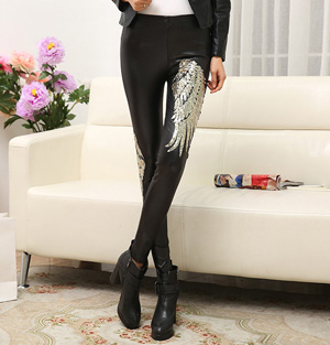 Leather sequin leggings