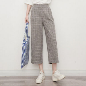Wholesale Seven contracted show thin grid loose flax wide-legged female pants