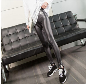 Female imitation leather tight leggings wholesale