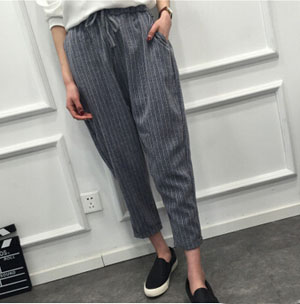 Vertical stripes nine points female harlan trousers wholesale