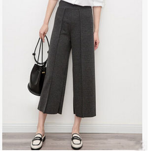 Contracted joker midline loose nine points wide-legged pants wholesale