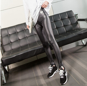 Spring show thin imitation leather female pants wholesale