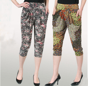 Seven ice silk flower haroun lantern female pants leggings