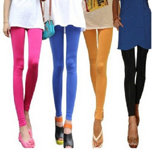 Female Candy color ice silk tights nine minutes pants wholesale