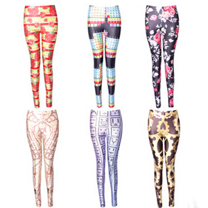 Digital printing female show thin elastic leggings wholesale