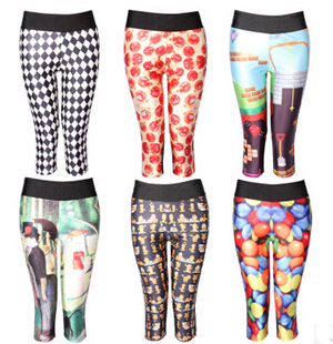 Digital printing black white candy tall waist seven female trousers