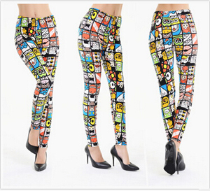 Super soft color cartoon bear leggings wholesale