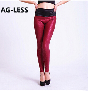 Female tall waist imitation leather lace leggings wholesale