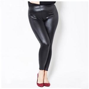 Fashionable imitation leather fat girl leggings wholesale