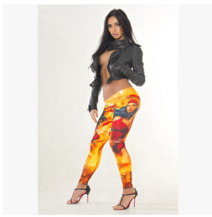 Digital printing tall waist leisure female warrior leggings wholesale