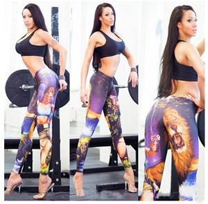 Wholesale printing tall waist recreational leggings