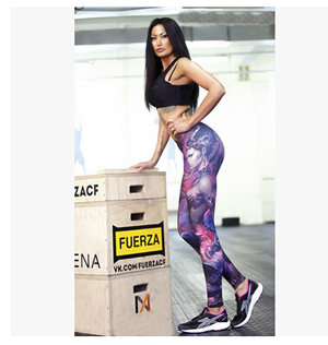 Wholesale printing tall waist recreational sexy female warrior leggings wholesale