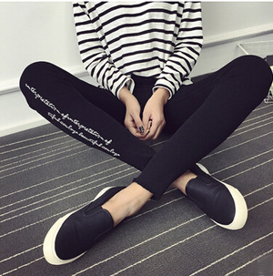 Calf embroidery letters imitation cowboy show thin render pencil pants wholesale