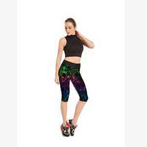 Dazzle colour stars pattern tall waist line 7 points movement pant wholesale