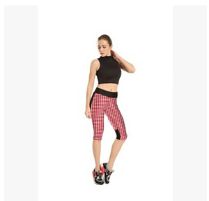 Red white plover case grain printing tall waist seven female trousers wholesale