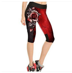 Red color rose pattern tall waist seven female trousers wholesale