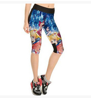 Printing beautiful girl lovely tall waist 7 points movement pant