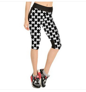 Black white puzzle pieces tall waist 7 points movement pant wholesale