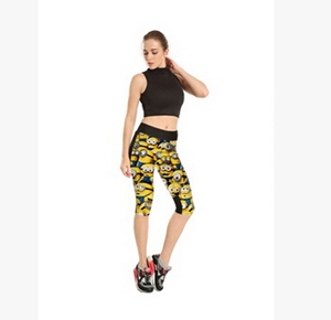 Digital printing yellow 7 points movement female trousers wholesale