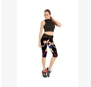 Printing stars beautiful girl tall waist 7 points movement pant wholesale