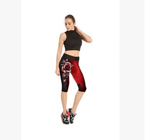 Red rose high waist seven sports pant wholesale