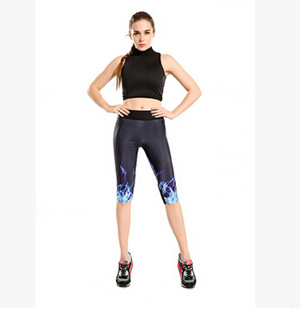 Digital printing cool blue 7 points movement pant wholesale