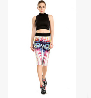Printing burst blood big eyes tall waist seven female trousers wholesale