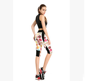 Printing delicious donuts high-waisted seven sports pant wholesale