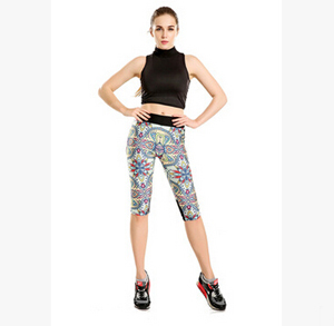 Big design color printing tanks war tall waist seven female trousers wholesale