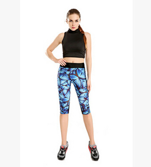 Printed blue butterfly seven sports pant wholesale