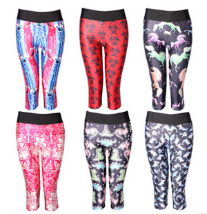 Printing Marine animal shark high-waisted seven sports pant wholesale
