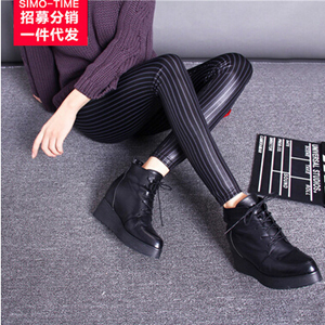 Imitation leather female thin black stripe elastic nine points leggings wholesale