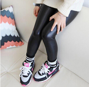 Girl high black leather pants wholesale