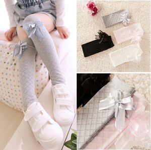 Children cotton gauze bowknot square grid knee-high socks wholesale