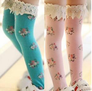 Pure cotton children lace small broken flower tube socks