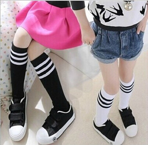 Baby girls cotton black white stripes socks student uniforms socks wholesale