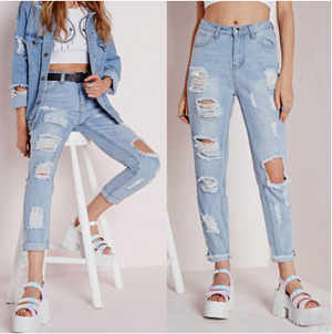 Female sexy hole tassel jeans